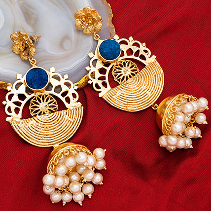 Gold Plated Artificial Stones Jhumkas: Earrings for Women