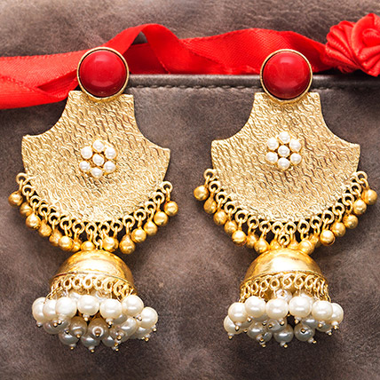 Gold Plated Red Stones Dome Jhumkas: Jewellery