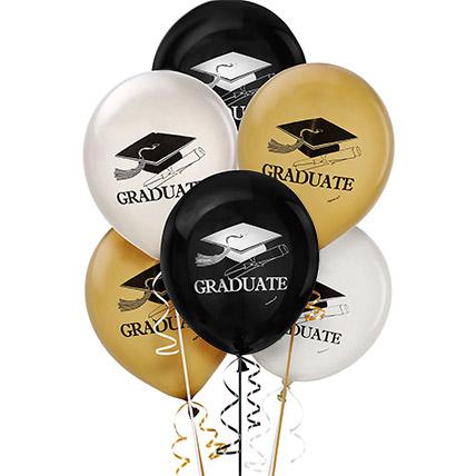 6 Pcs Assorted Graduation Balloons: Helium Balloons Dubai