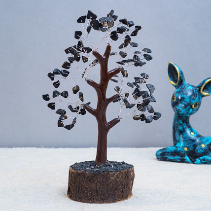 Black Agate Stone Handcrafted Wish Tree: Wish Trees