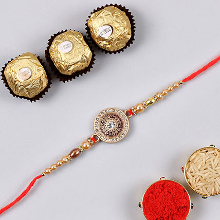 Sparkling Sun Rakhi And 3 Pcs Ferrero Rocher: Rakhi With Chocolates