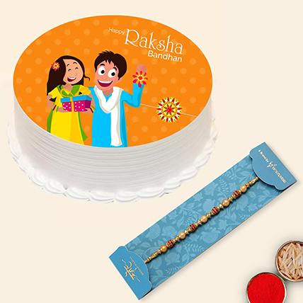 Red Pearl Rakhi and Rakshabandhan Cake: Rakhi With Cakes