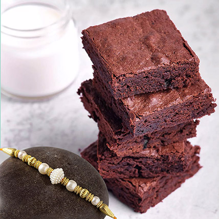 Golden Pearl Rakhi with Chocolate Brownies: Rakhi