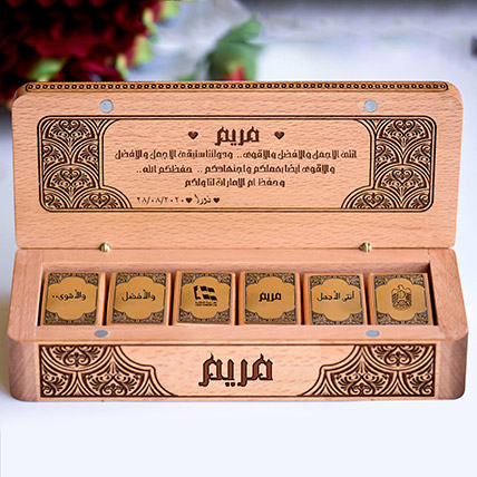 Personalised Wooden Box with Patchi: Patchi Chocolate Dubai