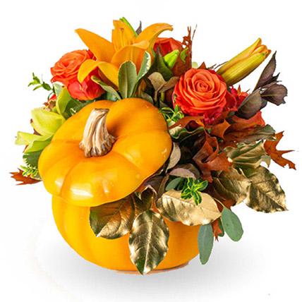 Charming Florals Arrangement in Pumpkin: Halloween Flowers