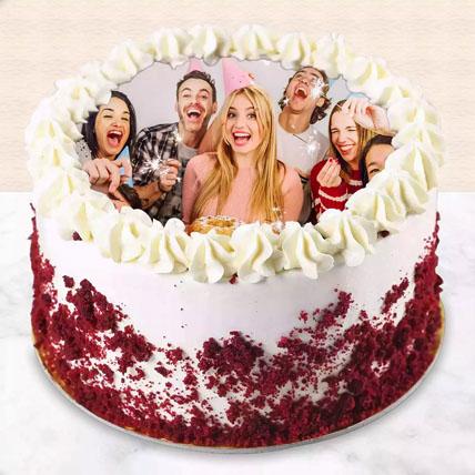Red velvet Photo Cake For Birthday: New Arrival Gifts
