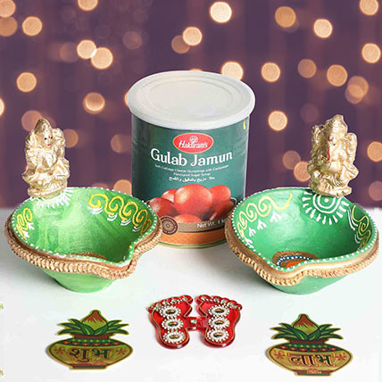 Designer Diya With Divine Stickers and Sweets: Diwali Gifts
