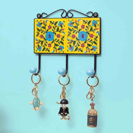 Yellow Handcrafted Pottery Key Holder: Unique Gifts Dubai