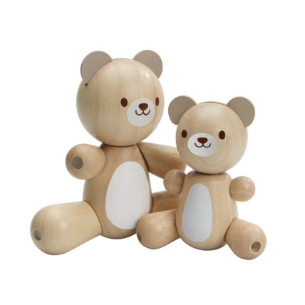 Cute Wooden Bear and Little Bear: Toys for Kids