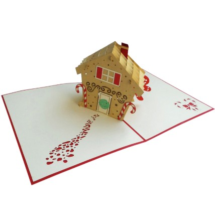 3D Gingerbread House Card: 3d Greeting Cards