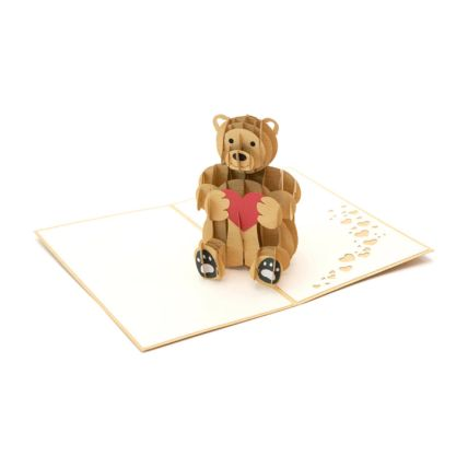 Teddy With Love Heart 3D Card: Teddy Day Gifts