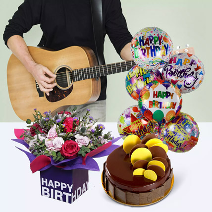 Melodious Birthday Surprise: Flowers & Guitarist Service