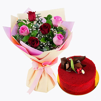 Pink and Red Roses with Red Velvet Cake: Gifts Combos