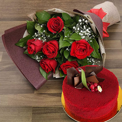 Red Roses with Red Velvet Cake: Anniversary Flower Bouquets