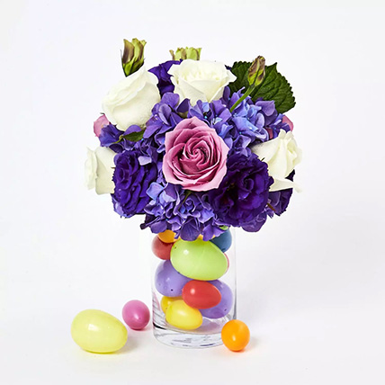 Blissful Assorted Flowers Arrangement and Easter Eggs: Easter Gifts