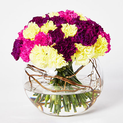 Beautiful Mixed Carnations Bowl Arrangement: Carnation Flower Bouquet