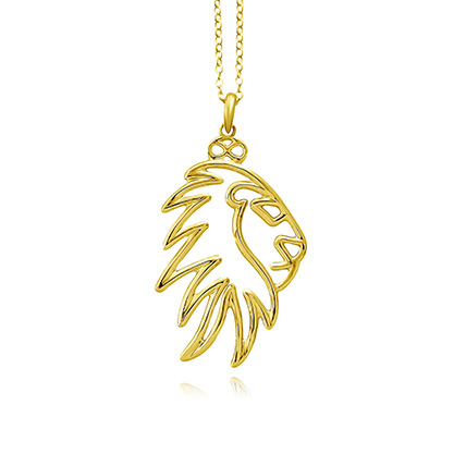 Gold Plated Brass Noble Lion Pendant Necklace: Artificial Jewellery