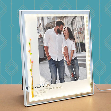 White Square Table-Top LED Photo Frame: Personalised Photo Frames