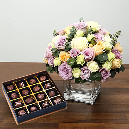 Purple and White Roses Array With Belgian Chocolates: Chocolates Delivery with in One Hour