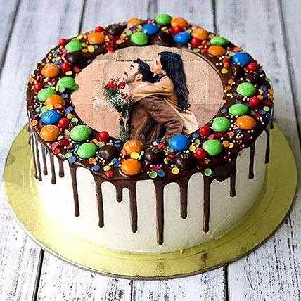 Chocolate Drip MNM Photo Cake For Anniversary: Wedding Anniversary Cake