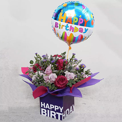 Birthday Flower Arrangement with Balloon: Gifts Combos