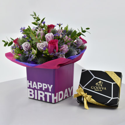 Vibrant Flowers and Godiva Chocolates For Birthday: Flowers and Chocolate Delivery