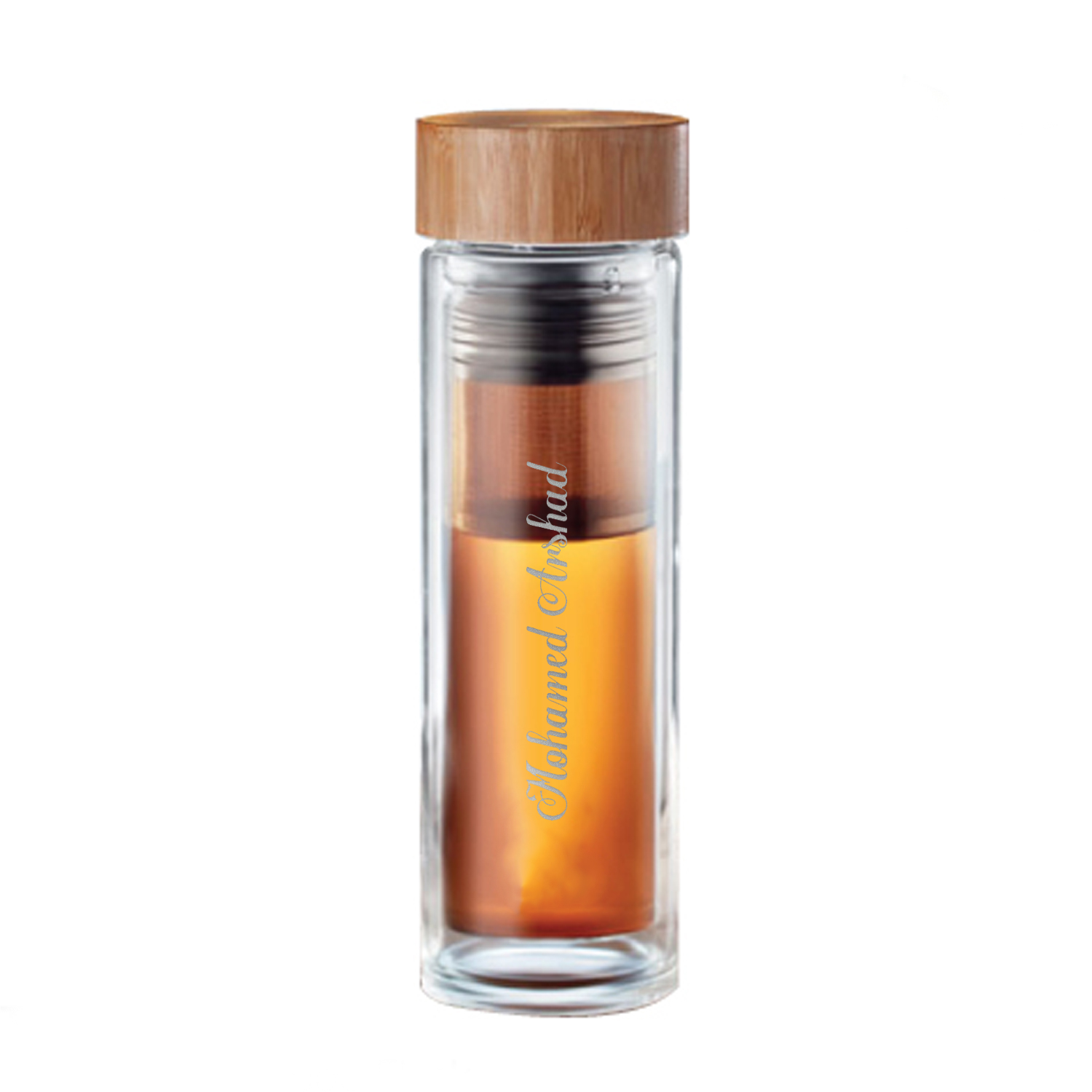 Engraved Text Glass Flask with Bamboo Cap: