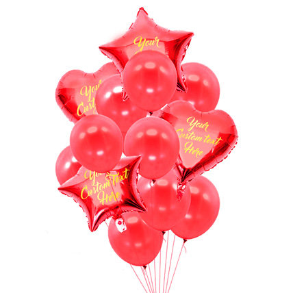 Sweet Star n Heart Shaped Customized Text Red Balloons: Special Birthday Gift for Girlfriend
