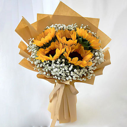 Ravishing Sunflowers Beautifully Tied Bouquet: Sunflowers Bouquets