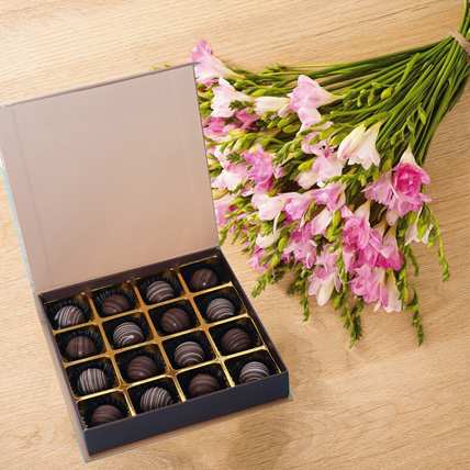 Fragrant Pink Freesia With Chocolates: Flowers and Chocolate Delivery