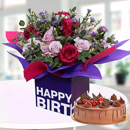 1 Kg Chocolate Cake With Birthday Flower Arrangement: Gifts Combos