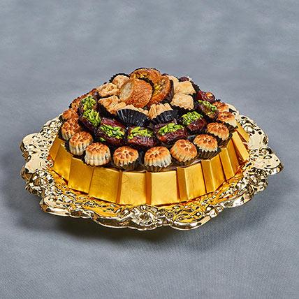 Eid Mubarak Wishes With Assorted Delights:  Arabic Sweet Shop