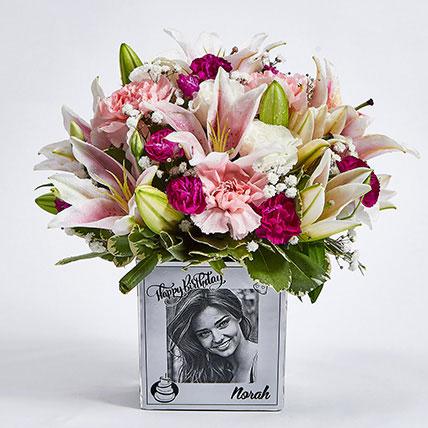 Personalised Vase Birthday Flowers:
