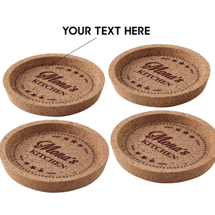 Personalized Engraved Cork Coaster Set of Four: