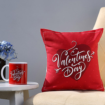 Valentines Day Special Printed Cushion and Mug Combo: Valentines Day Personalised Gifts