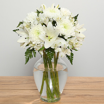 White Flowers In Glass Vase: Sympathy & Funeral Flowers