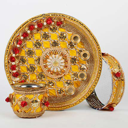 Yellow Steel Thali Combo For Karwa Chauth: Karwa Chauth Gifts
