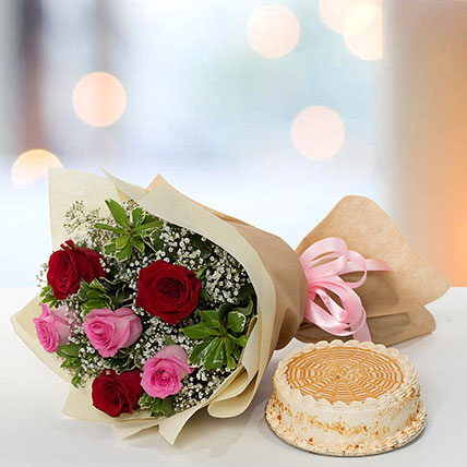 Delightful Roses Bouquet With Butterscotch Cake QT: Cake Delivery in Qatar