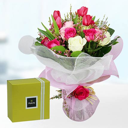 Tulips & Roses With Patchi Chocolates: Send Chocolates To Qatar