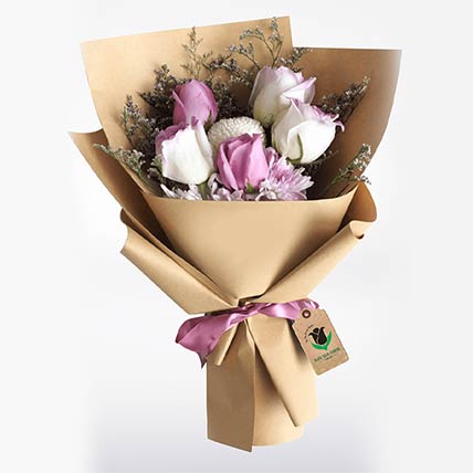 Purple & White Roses Bouquet: Send Mothers Day Gifts to Qatar