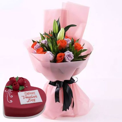 Beautiful Roses Bouquet With Heart Shape Cake: Flower and Cakes Delivery in Qatar