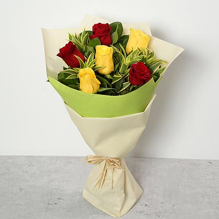 Red and Yellow Roses Bouquet SA: Flower Delivery Saudi Arabia