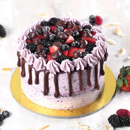 Delicious Chocolate Berry Cake Half Kg: Send Cake to Saudi Arabia