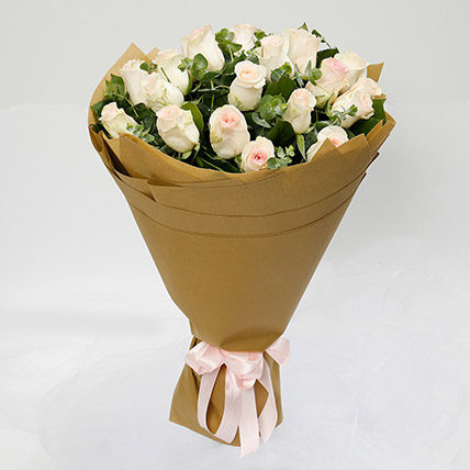 20 Peach Roses Bouquet: Flowers To Al-Mubarraz