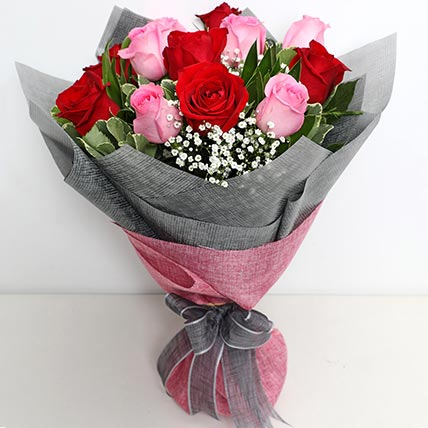 6 Pink And 6 Red Roses Bunch: Gifts To Yanbu