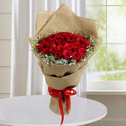 50 Red Roses Bouquet With Brown Wrapping: Flowers To Taif
