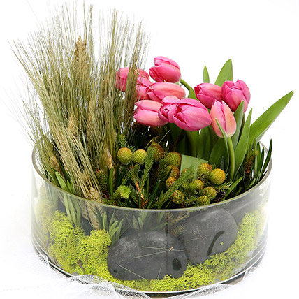 Pink Tulips With Pebbles Glass Vase Arrangement SG: Flower Delivery Singapore