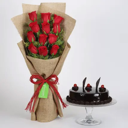 12 Layered Red Roses Bouquet and Truffle Cake