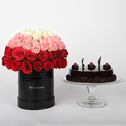 Mixed Roses Box and Truffle Cake