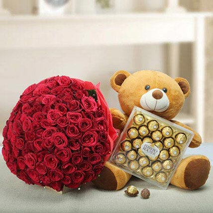 Teddy day flowers and chocolates